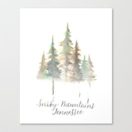 Smoky Mountains Tennessee Watercolor Canvas Print