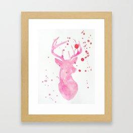Deer in pink Framed Art Print