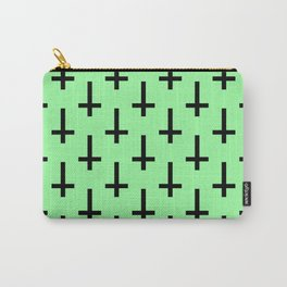 Black and Green Inverted Cross Pattern Carry-All Pouch