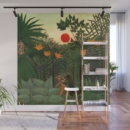 "Henri Rousseau ""Tropical Landscape - subtitled An American Indian Struggling with a Gorilla"" Wall Mural"
