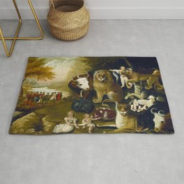Classical Masterpiece 1833 'A Peaceable Kingdom' by Edward Hicks Rug