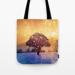 Miracle Tree in Frozen Tundra, Home Decor, Scenic Wall Art, Winter Tote Bag