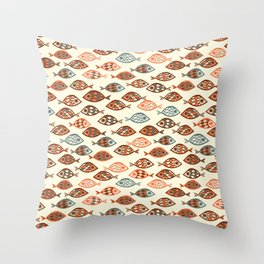 Fish pattern in abstract doodle style Throw Pillow
