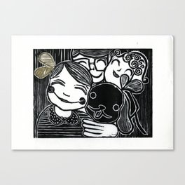 ♡ ♥Love you, Daddy, Mommy, and my puppy, Charlie~, Woodprint Canvas Print
