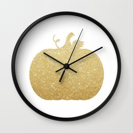Gold Glitter Pumpkin Wall Clock