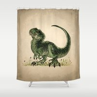 trex Shower Curtains featuring Baby T-Rex by River Dragon Art