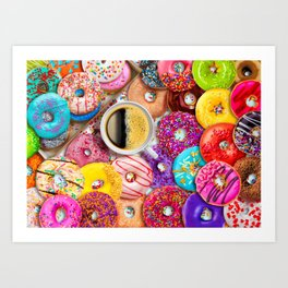 Donuts & Coffee Art Print