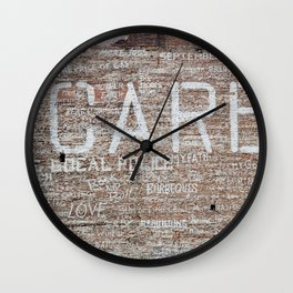Care Wall Mural in Downtown Detroit Print Wall Clock