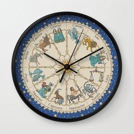 Vintage Astrology Zodiac Wheel Wall Clock
