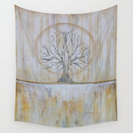 Solstice - Gold and Grey Textured Painting - Abstract Tree Landscape Wall Tapestry