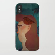 lady with bird Slim Case iPhone X