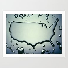 USA Map in Liquid Water US Outline United States Art Print