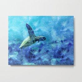 Sea Turtle Into The Deep Blue Metal Print