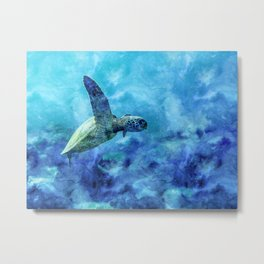 Sea Turtle Into The Deep Blue Metal Print