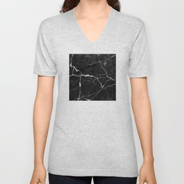 Black Suede Marble With White Lightning Veins Unisex V-Neck