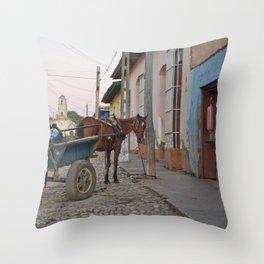 Horse Cart Cuba Trinidad Latin America Farmer Market Street Calle Cobblestone Tropical Island Throw Pillow