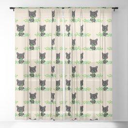 The Luckiest Cat Sheer Curtain