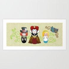 Kokeshis Alice in Wonderland Art Print