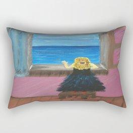 Woman at the Window at Figueres Rectangular Pillow