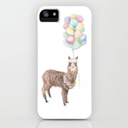 Llama Alpaca Balloon Boho Flower Garland Animal illustration iPhone Case