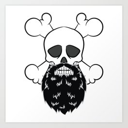 Bearded Pirate Skull without eye Patch Crossbones Skeleton Art Print