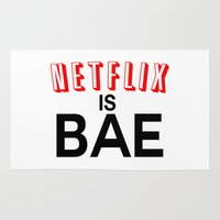 netflix Area & Throw Rugs featuring Netflix Is Bae by Poppo Inc.
