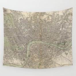 Vintage Map of London England (1843) Wall Tapestry