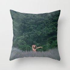 Blurry Greens Throw Pillow