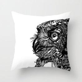 Inked Owl II Throw Pillow