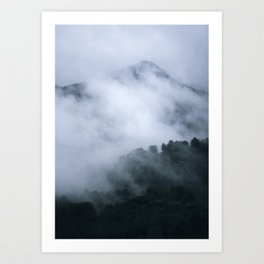 """Mistery mountains"". Retro. Foggy. Art Print"