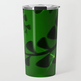 Pattern the color green moss plant elements dark bottled luminous ethnic style. Travel Mug