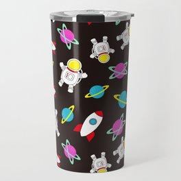 Space Odyssey in Black | Floating Astronauts | Rockets Travel Mug