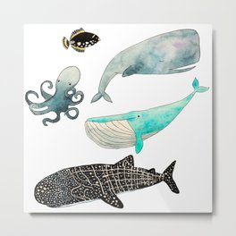 Whales and friends Metal Print