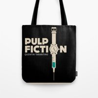 pulp fiction Tote Bags featuring Pulp Fiction  by Jacob Wise