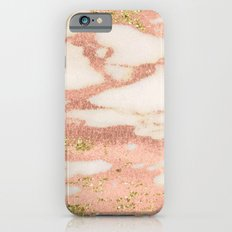 Marble - Rose Gold Shimmer Marble with Yellow Gold Glitter Slim Case iPhone 6s