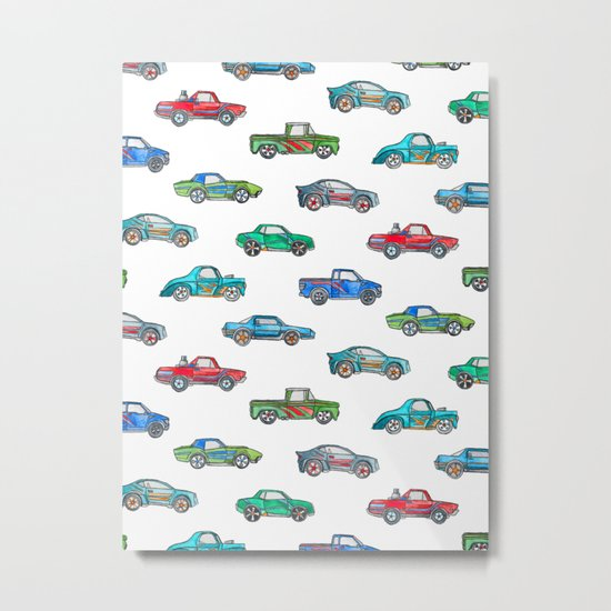 Little Toy Cars in Watercolor on White Metal Print