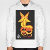pentagram Hoodies featuring Pentagram Goathead by T Alexander