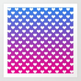 Vibrant Blue, Purple & Pink Gradient With White Hearts Art Print