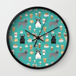 French Bulldog coffee pupuccino dog breed gifts frenchies must haves Wall Clock