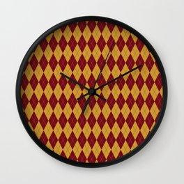 Geometric burgundy yellow orange diamond shapes stripes Wall Clock