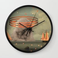 pixies Wall Clocks featuring this monkey gone to heaven by Rosa Picnic