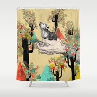 eye Shower Curtains featuring Found You There  by Sandra Dieckmann