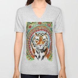 Tiger Indian Blossom Mandala Unisex V-Neck