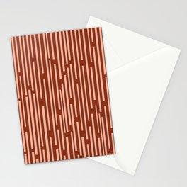 Leitungen Minimalist Mid-Century Modern Pattern in Salmon and Maroon Rust Stationery Cards
