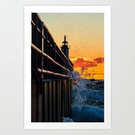 Sunset SPLASH At The Lighthouse Art Print