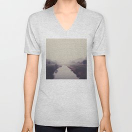 true beauty is a foggy landscape in the English Fens. Unisex V-Neck