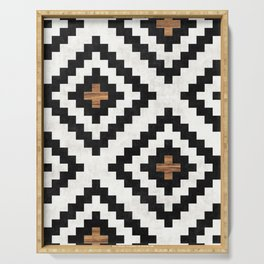 Urban Tribal Pattern No.16 - Aztec - Concrete and Wood Serving Tray