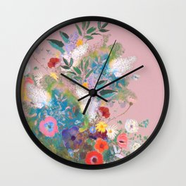 Mixed bouquet of flowers Wall Clock