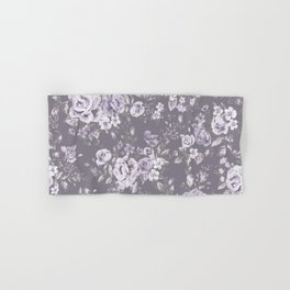 VINTAGE FLORAL MAUVE ROSES PATTERN DARK Hand & Bath Towel