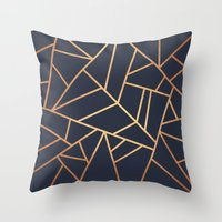 copper Throw Pillows featuring Copper and Midnight Navy by Elisabeth Fredriksson